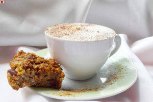 Carrot and apple muffin and coffee