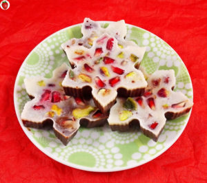 Pomegranate And Pistachio Chocolate Snowflakes