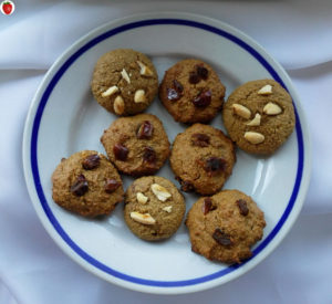 vegan gluten-free peanutbutter nuts and dates chocolate chip cookies