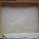 Baking tray covered with baking paper