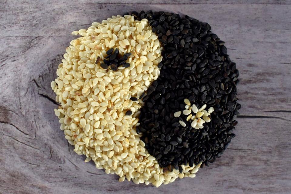 Sesame seeds yin yang